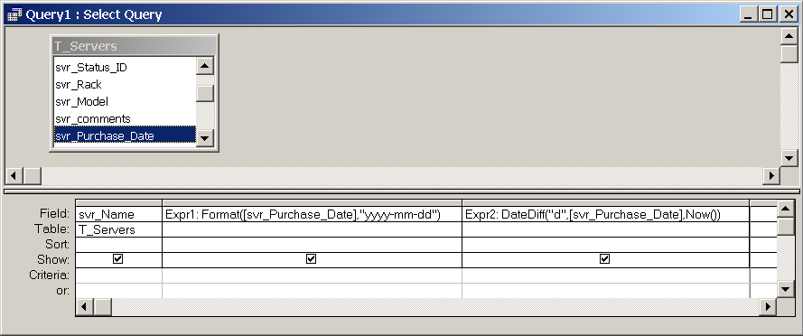 microsoft access date function